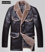 рождественский подарок мужская овчины кожа гусиный пух теплые куртки для зима овечьей шерсти меховой воротник бренд одежды браун