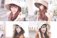 1 шт, 2016 моды складной пустой шляпа солнца для женщин, вс шапки, летний пляж соломенные шляпы, многоцветный, бесплатная доставка