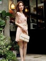 лето новых женщин оборками мини платье 0-образным вырезом с поясом 0176 бесплатная доставка