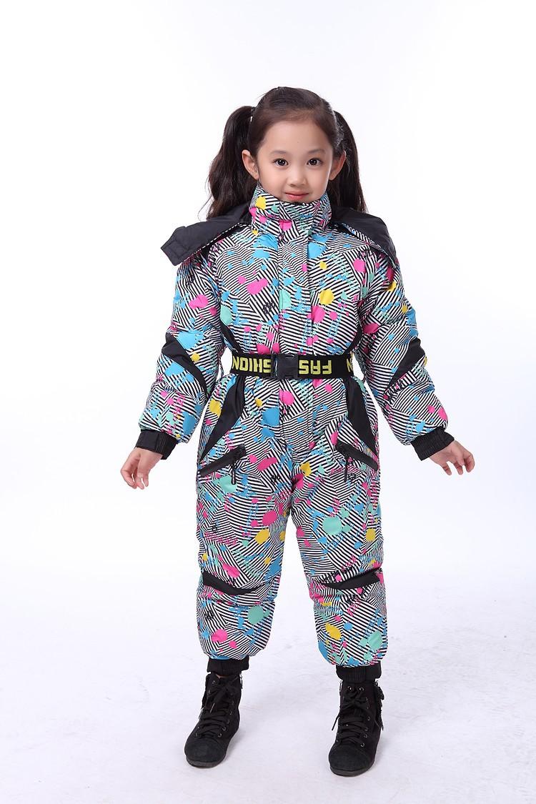 дети из внешней торговли из оригинальной цельной лыжный костюм водонепроницаемый ветрозащитный мальчиков и девочек супер-толстые теплые лыжные одежда