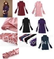 95% cutton зима женщины в лепесток нижнее белье dna рубашка длинный рукав против sweater длина 54 / 69 см