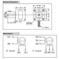 42 гибридных шаговый двигатель 2 фазы 4-проводной шаговый двигатель