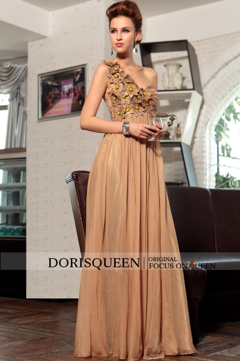 dorisqueen30720a-линии милая длина пола шампанское бисером длинные вечерние платья 2015 цветок ну вечеринку пром платья вечерние платья