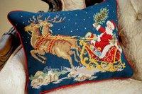 """пара рук прошитой шерсть кружево чехол-рождественских санта на пути праздник подарки-бесплатная 16 """"х 12"""" главная декоративные"""