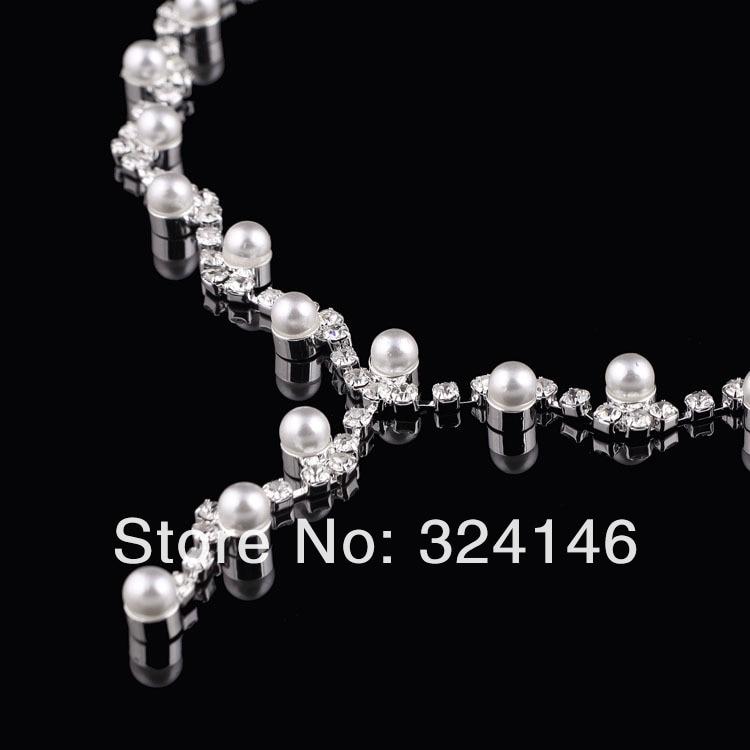 אופנה חדשה אלגנטי פרל כלה סטי תכשיטי אופנה קריסטל שרשרת לנשים חתונה תכשיטי סטים אביזרים