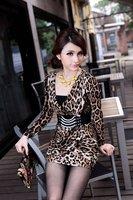 оптовая продажа + бесплатная доставка 8638 # корейской версии леопард осень длинный тонкий нижнего платья сумка-хип сексуальное