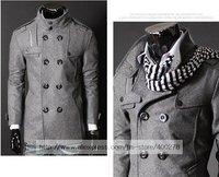 бесплатная доставка мужская шерстяная куртка двойной взвод пеа шерсть половина плащ жетоны куртка м-3XL черный серый wd35
