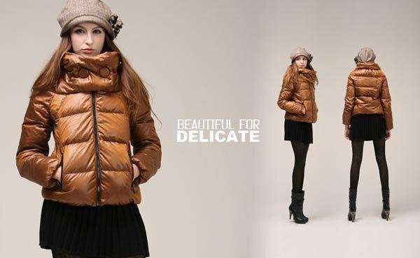 Free Shipping Fashion Women Short White Duck Down Coat, Colorful ...