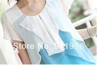 мода женщин повелительниц короткие рюшами длинным рукавом шифон рюшами блузка корейский стиль 2 цветов розовый и голубой бесплатная доставка # 194