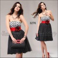 03276 мода черный белый цветок полька точек платья коктейль