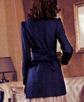 бесплатная доставка! стиль стоит сток грудью ремень Chest line пальто синий