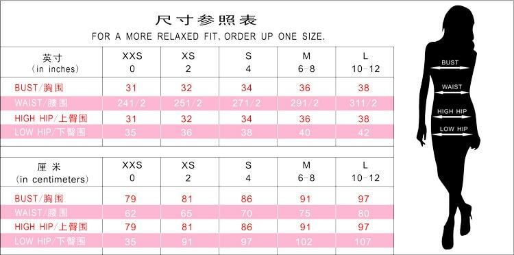 Size Chart of GVN Rocks Women's Rayon Bandage Bodycon Dress