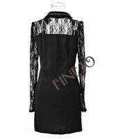 женская дамы Blur kruger платье печать тонкий подходят с длинным рукавом тан костюм мини платье чудик платье черный бесплатная доставка 6707