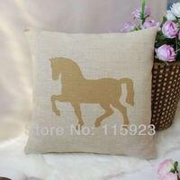 1 бесплатная доставка хлопок белье желтый лошадь животных отпечатано / подушки чехол 45 см * 45 см
