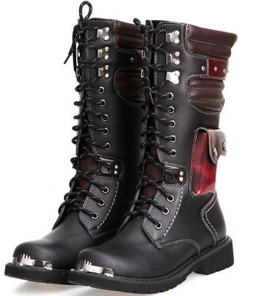 Aliexpress.com : Buy men long boots black color and steel toe hard ...