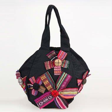 2017 Fashionable Handmade Sling Shoulder Bag Hexagon Design Manual With Five Flowers Handbag B197