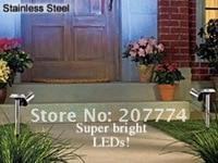 бесплатная доставка открытый солнечный нержавеющей стали из светодиодов свет пейзаж сада путь света