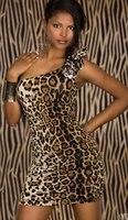 горячая Seal платье леопард печать одно плечо болт облегающее платье мини клуб платье 2557
