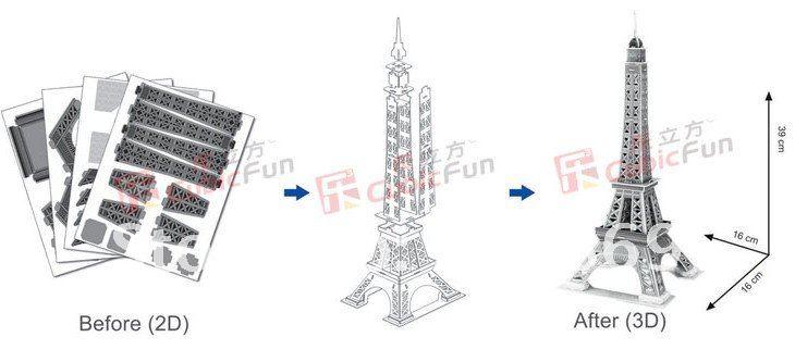 New arrive CubicFun puzzle building Eiffel Tower Paris DIY paper model free shipping hot sale