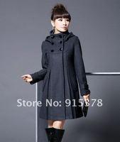 новый женская горячая распродажа зима с капюшоном пальто корея мода шерстяные promoyion пальто + бесплатная доставка 2097