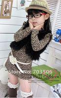ребенков платье дети леопард, пожимая плечами девушка одна часть девушки с длинным рукавом платья 5 шт