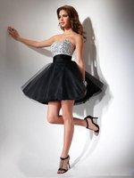 бесплатная доставка с Корк стиль черный и белый ТЛ атлас милая удалите автобусы и камни рабочая платье для выпускного бала в наличии