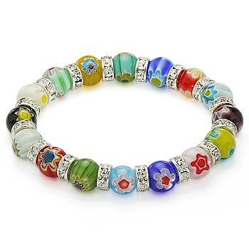 Venetian Millefiori Bead Lampwork Murano Gl Beaded Stretch Crystal Bracelet 10mm Mixed Colors Delivery In Id Bracelets From Jewelry Accessories On