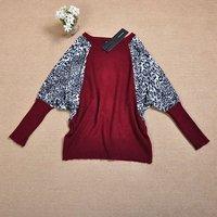 женские кофты с ди летучая мышь рукав леопард печать хлопок вязать свитер пуловер женская + бесплатная доставка