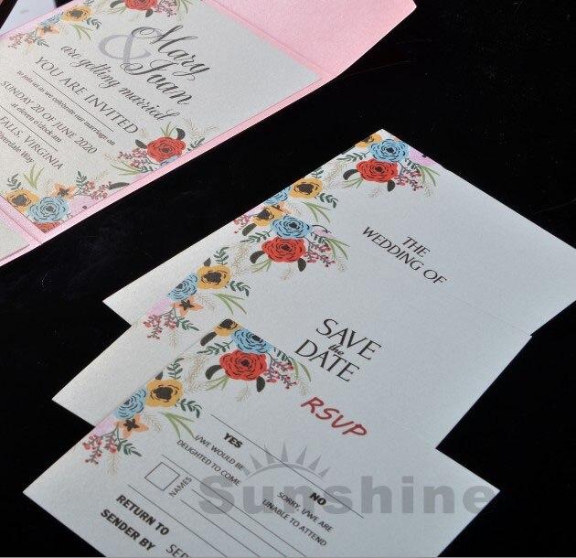 Rosa Rustikal Hochzeitseinladungen Tasche Falten Geburtstag ...