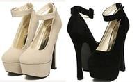 женская обувь Seal туфли на высоком bloke платформы насос круглый носок свадебные туфли простой дизайн грейс жратвы тонкие кабель черный и бежевый