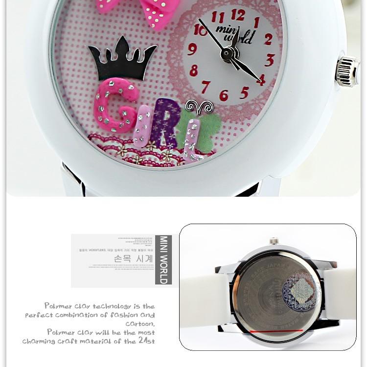 горячая корейские sell048 часы мини-мир кролик стол полимерная глина часы мультфильм леди дети из мини-часы