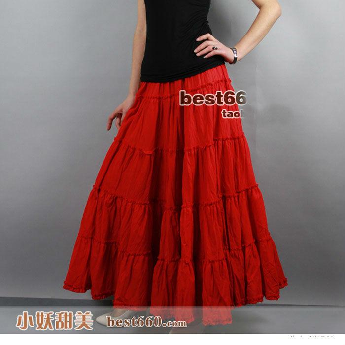 3b35eb7cf7 US $29.5  100% Cotton Gypsy Bohemia Casual BOHO Full Circle Spani Pleated  Female Long Skirt / White Red Black Maxi Plissee Skirts Womens -in Skirts  ...