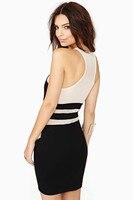 feelingirl женская винтаж черный вечерние платья без рукавов сращивание сексуальное бандажное платье Клубная одежда мини платье