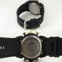 новый черный ясно водонепроницаемый спорт часы для Ново Plane мужские двойной дата кварцевые подруги iw061