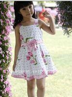 оптовая продажа! девушки платья большой цветок для девочек платья хлопок 4 шт./лот бесплатная доставка