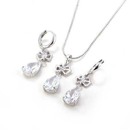Fashion Jewelry Set 18K White Gold Filled Noble Necklace Earrings