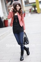 новинка о-образным вырезом корея стиль женщин пу короткая кожаная куртка, тонкий футболки с длинным рукавом женщин куртки