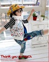 весна корейский стильный печать должен мальчики детские свободного покроя жилет Техас - 0558