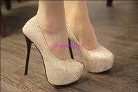 новый стиль мода женщин сексуальный ремень тонкие туфли на каблуках обувь на платформе женщин туфли на высоком каблуке 14 см черный / золото, бесплатная доставка