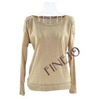 женская о-образным шеи чистой синтетической бусины летучая мышь с длинным рукавом дешевая футболка блузка топы бесплатная доставка 9232