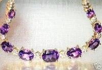 превосходный ювелирные изделия естественная великолепная аметист 14 к золото браслет браслет
