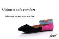 мода женщин квартиры острым носом работа туфли мэри джейн женская большой размер сандалии комфорт плоские хит-цвет бесплатная доставка