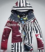 бесплатная доставка мужские на открытом воздухе водонепроницаемый спорт куртка красный теплый лыжная куртка мужчины снег куртка для лыжников лыжный костюм с капюшоном