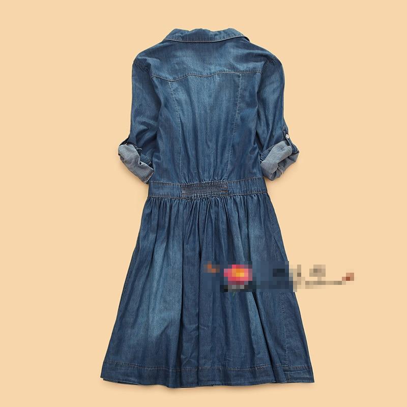 5763f55166383 Fashion summer slim jeans denim dress women s thin blue solid color ...