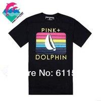 мужская мода розовый дельфин футболку, высокое качество хип-хоп мода новый стиль 100% хлопок майка бесплатная доставка