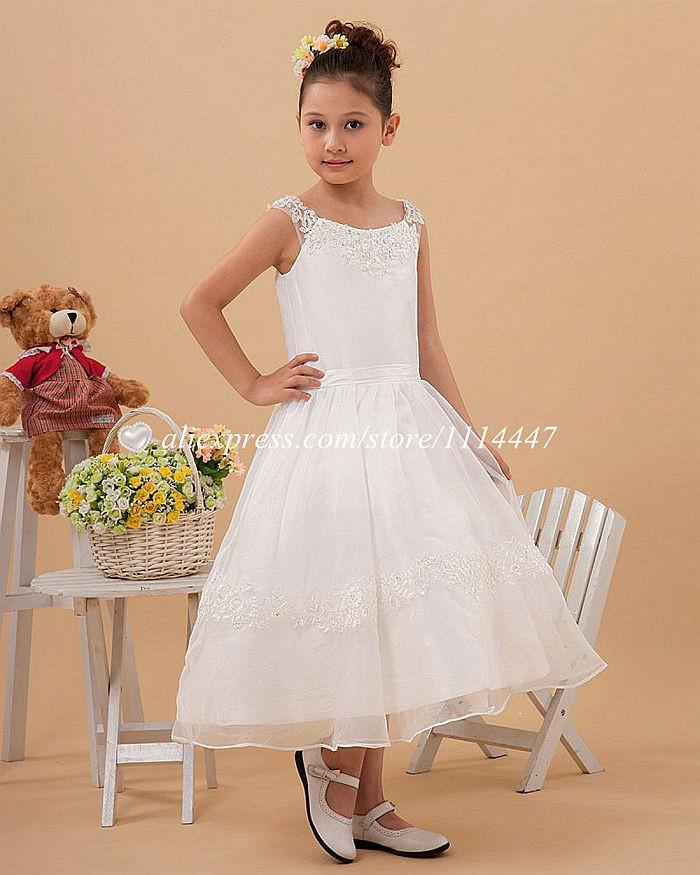 новые бестселлеры бесплатная доставка на заказ платье-линии без рукавов из органзы белый цветок платье для девочки с аппликации # fd5