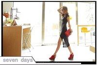 бесплатная доставка оптовая продажа европейский стиль стильный асимметричный хлопок кап-рукава длинное платье е5-4-d425a-7966