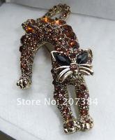 cirgen, мода золото/посеребренная полный кристалл циркон кошка женщины броши сплава кошка кристалл животных брошь пен ювелирные изделия пункт
