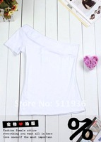 по продвижение женщин Seal NC плечо с Alma стойка свободного покроя топы мода футболка бесплатная доставка # c52006