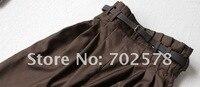 новое поступление продажа женские брюки манжеты широкий багги конические гарем брюки свободного покроя брюки черный коричневый высокая талия капри пояса